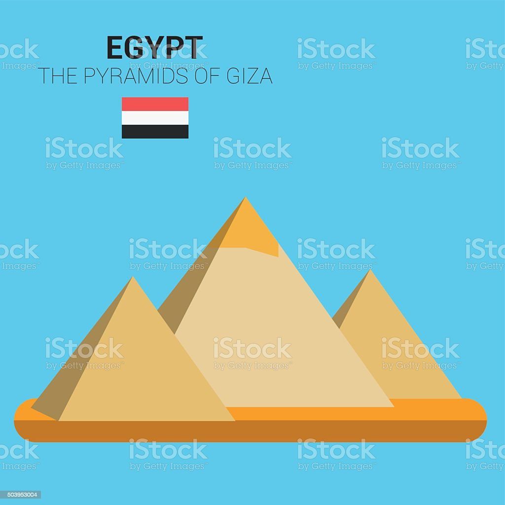 Monuments and landmarks Vector Collection: The Pyramids of Giza. vector art illustration