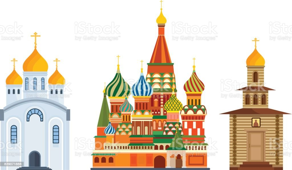 Monuments architecture, famous Orthodox Church of St. Basil Blessed, cathedral vector art illustration