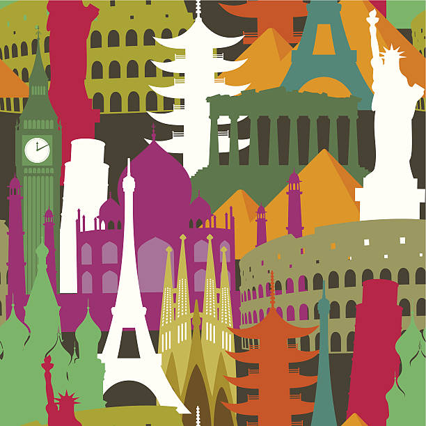Monuments seamless pattern vector art illustration