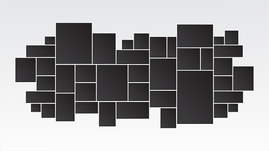 mood board & branding interior presentation photo. collage frames boards mosaic frame photos pallet display & photo montage. vector illustration