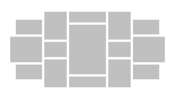 ilustrações, clipart, desenhos animados e ícones de apresentação da colagem da placa do modo. teste padrão do modelo do fundo do mosaico do vetor - mood board