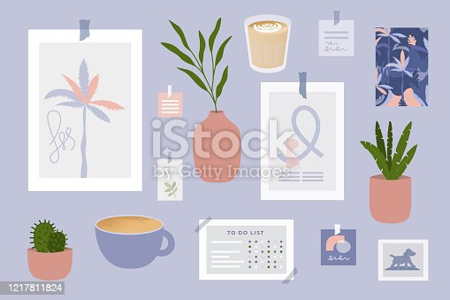 Inspiration mood board with home decor items. Poster, vase, houseplant, cards, cup of coffee, stickers and to do list. Idea for modern comfy scandinavian interior. Vector illustration, set of objects.