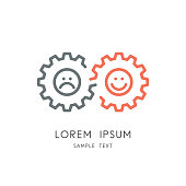Mood change - couple of gear wheels with happy and sad faces, toothing and infinity symbol. Positive and negative emotions, glad and sorrow, fun and anger vector icon.