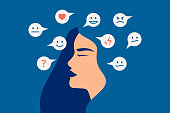 istock Mood swing concept. Many emotions surround young female with Bipolar disorder. Woman suffers from hormonal with a change in mood. 1286189024