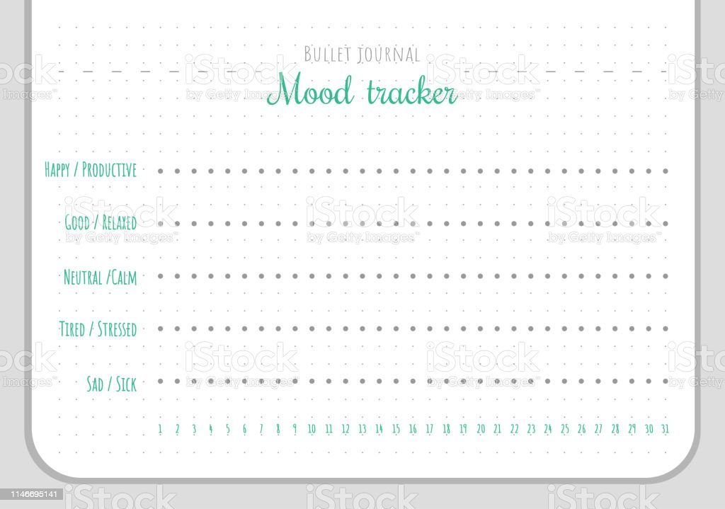 Mood Tracker Chart Template For 31 Days Of A Month Stock
