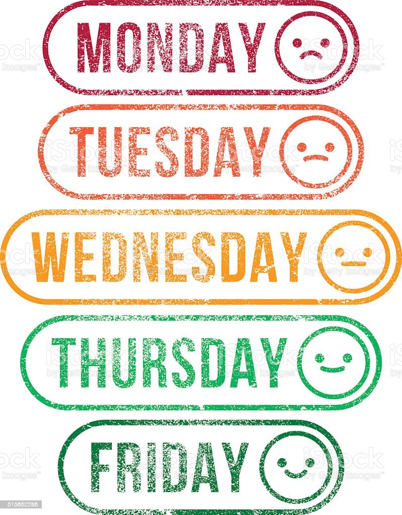 Mood Work Week RubberStamps vector art illustration