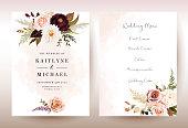 istock Moody boho chic wedding vector bouquet cards 1156036772