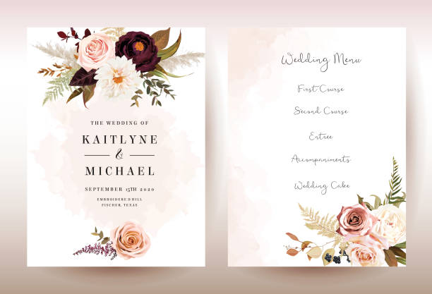 illustrazioni stock, clip art, cartoni animati e icone di tendenza di moody boho chic wedding vector bouquet cards - matrimonio