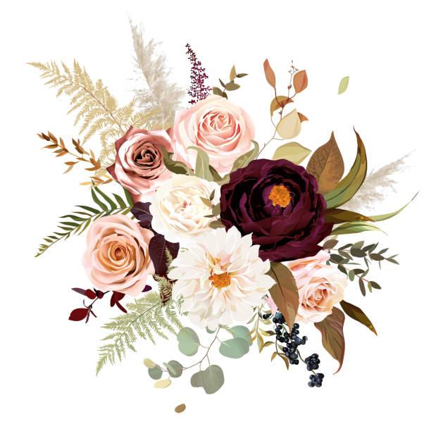 stockillustraties, clipart, cartoons en iconen met moody boho chic bruiloft vector boeket - boho