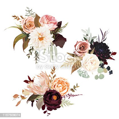 Moody boho chic wedding vector bouquets. Warm fall and winter tones. Orange red, taupe, burgundy, brown, cream, gold, beige, sepia autumn colors. Rose flowers, dahlia, ranunculus, pampas grass, protea