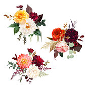 istock Moody boho chic wedding vector bouquets. 1226328443