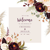 Moody boho chic wedding vector design frame. Warm fall and winter tones. Orange, taupe, burgundy, brown, cream, gold, beige, sepia autumn colors. Rose flowers, dahlia, ranunculus, pampas grass, fern