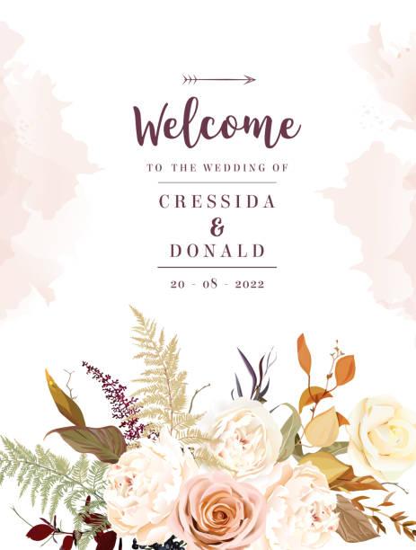 穆迪博霍別致的婚禮載體設計框架。溫暖的秋天和冬天的色調 - 淺粉色 幅插畫檔、美工圖案、卡通及圖標