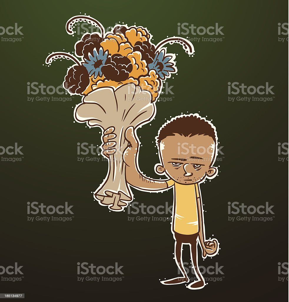 Moody man with a bouquet royalty-free moody man with a bouquet stock vector art & more images of adolescence