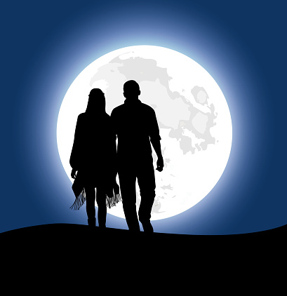 Silhouette illustration. Couple walking hand in hand at night time  with huge moonlight background