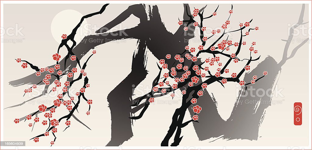 Moon and Blossom Tree, Oriental Style Painting royalty-free stock vector art