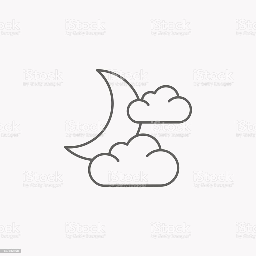moon and cloud icon vector art illustration