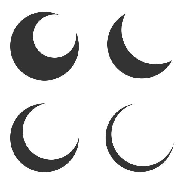 月亮和新月圖示設置向量設計在白色背景。 - 新月 幅插畫檔、美工圖案、卡通及圖標