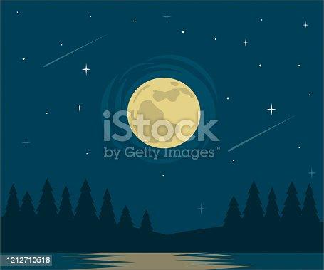 moon and lake