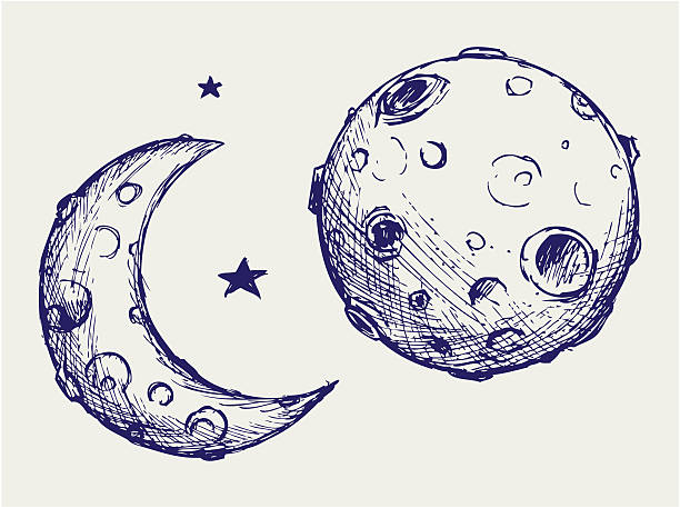 illustrazioni stock, clip art, cartoni animati e icone di tendenza di luna e crateri lunare - luna gibbosa