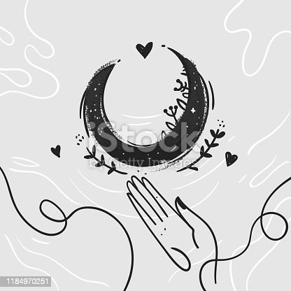 Moon and plant on the greywater. Line style women hand. Hand-drawn style sketch vector illustration. Fine hipster art compositions in tatoo style for print