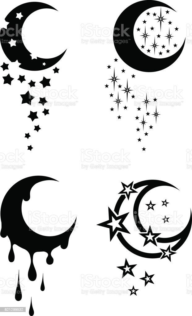Tatuajes tribales del blanco y negro de la luna y las estrellas - ilustración de arte vectorial