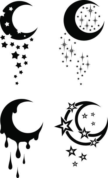 ilustraciones, imágenes clip art, dibujos animados e iconos de stock de tatuajes tribales del blanco y negro de la luna y las estrellas - tatuajes de luna