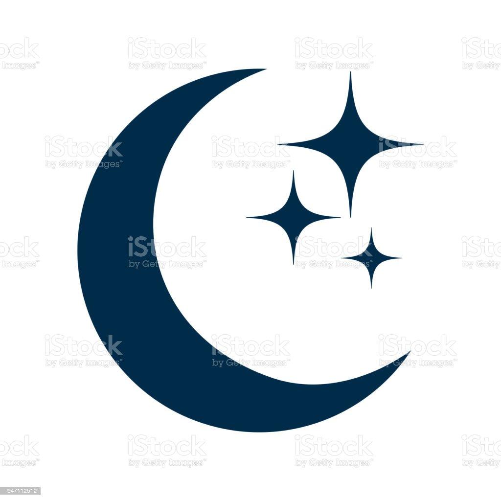 Lua e estrelas ícone plana, sinal isolado – ações vector - ilustração de arte em vetor