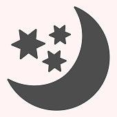 Moon and stars glyph icon. Night sky with moon terminator. Astronomy vector design concept, solid style pictogram on white background, use for web and app. Eps 10
