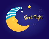 """Vector cartoon illustration. A moon in a white and blue striped nightcap sleeping in the sky, a little star is awake and smiling. Dark blue background, yellow text """"Good night"""". Horizontal format."""