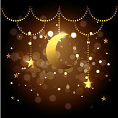 moon and stars hanging decoration to festival vector illustration