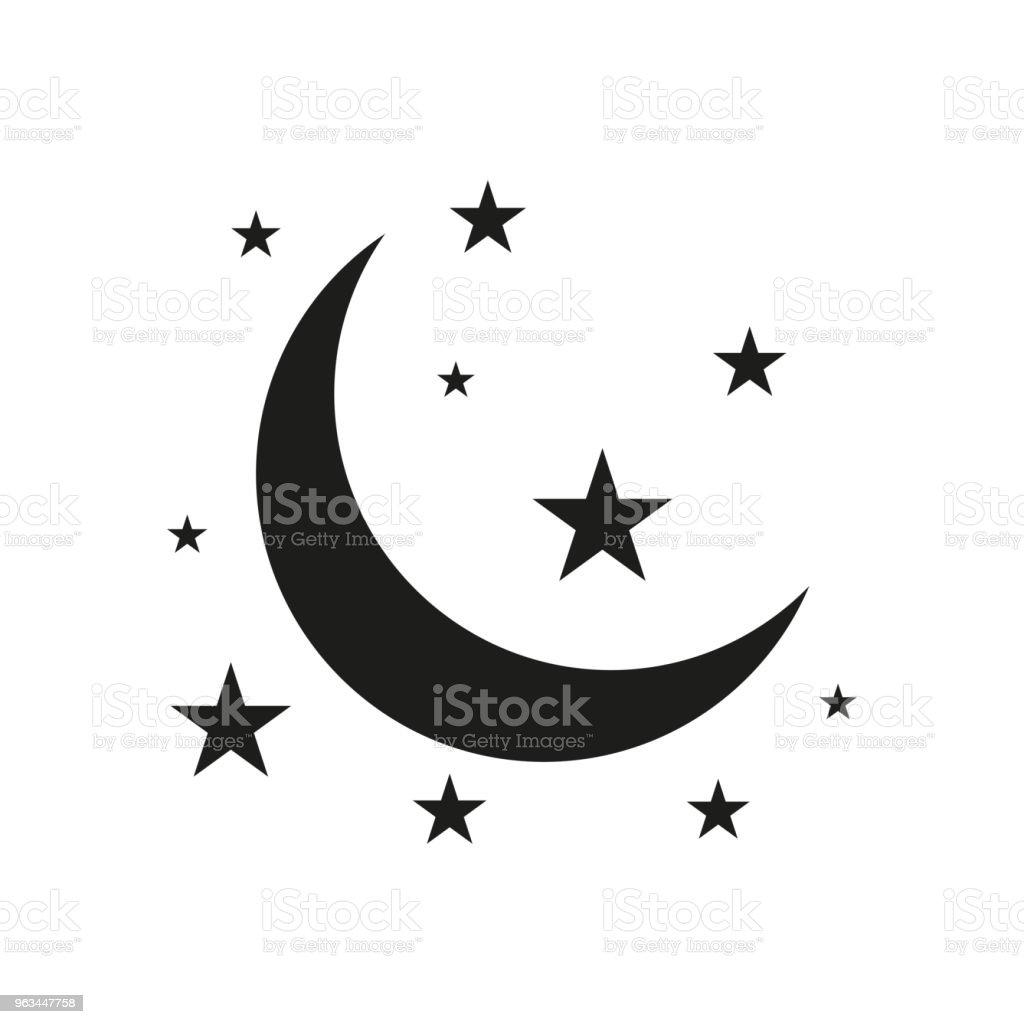 Ay ve yıldız simgesi. Beyaz arka planda siyah düz vektör çizim. EPS 10 - Royalty-free Astroloji Vector Art