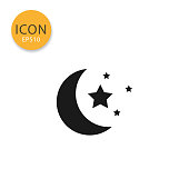 Moon and stars icon flat style in black color vector illustration on white background.