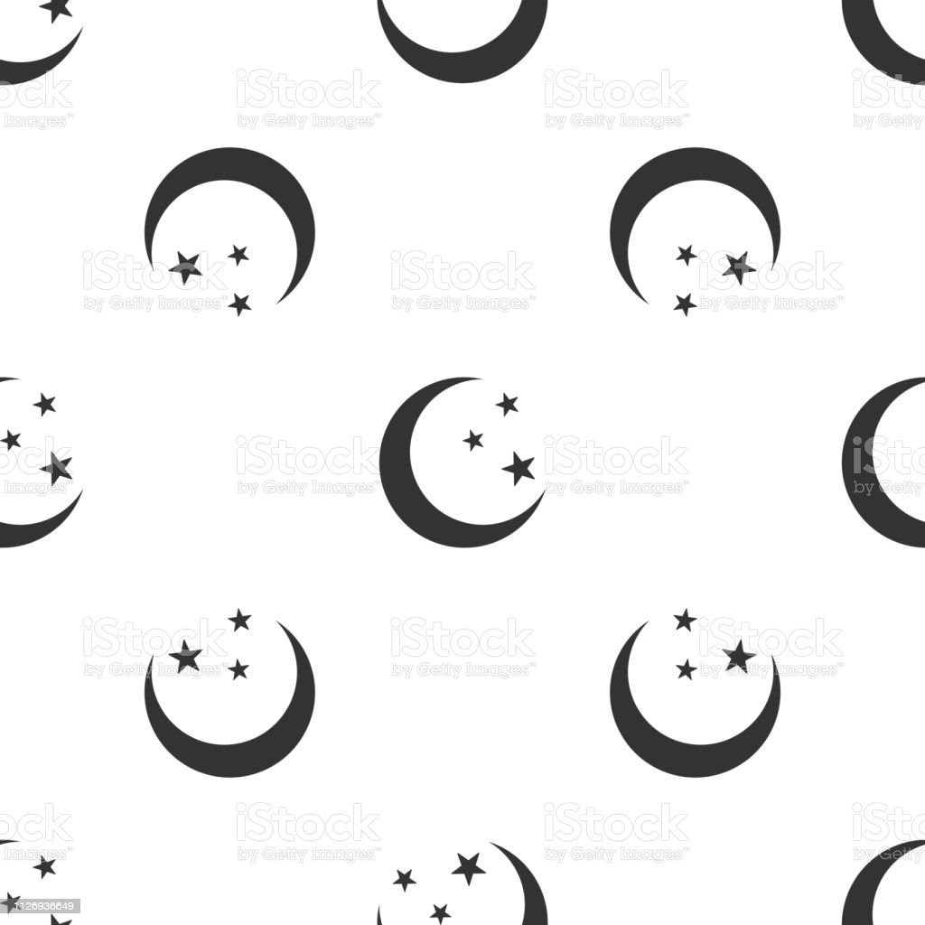 Moon and stars icon isolated seamless pattern on white background. Flat design. Vector Illustration