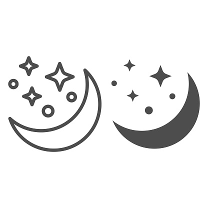 Moon and stars line and solid icon, astrology concept, night sky sign on white background, Moon in starry sky icon in outline style for mobile concept and web design. Vector graphics.