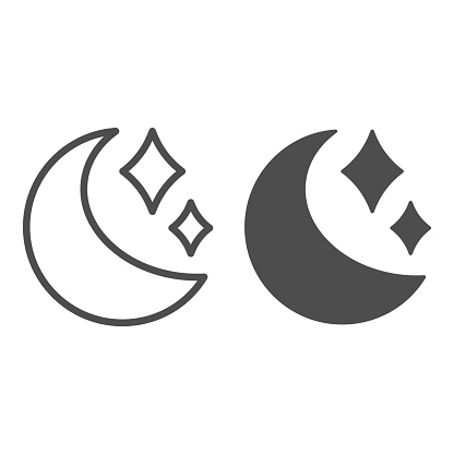 Moon and stars line and solid icon, astronomy concept, night sky sign on white background, Moon in starry sky icon in outline style for mobile concept and web design. Vector graphics.