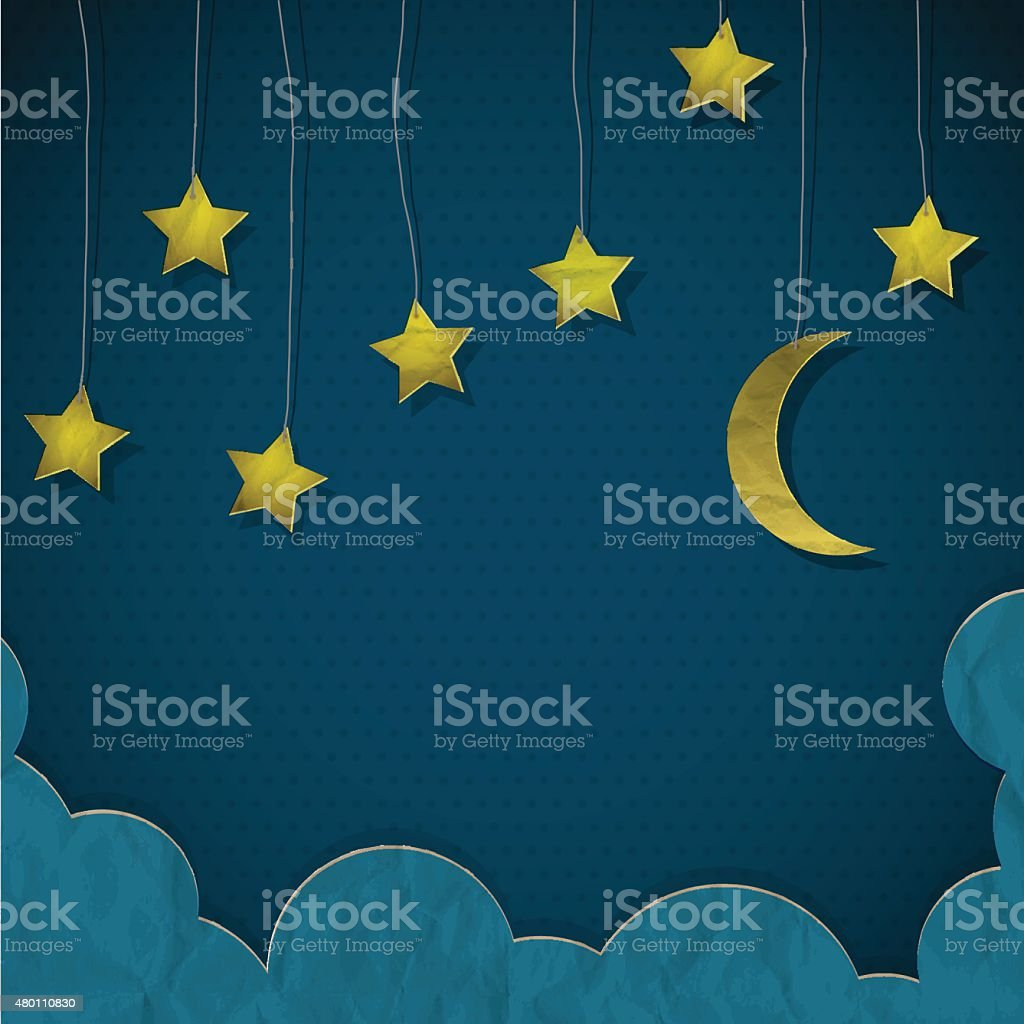 Moon and stars made from paper vector art illustration