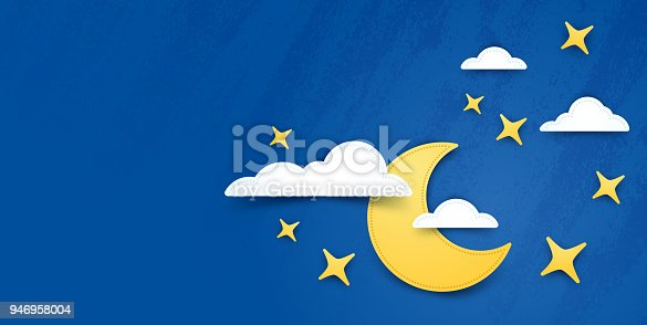 Moon and stars night background with copy space.