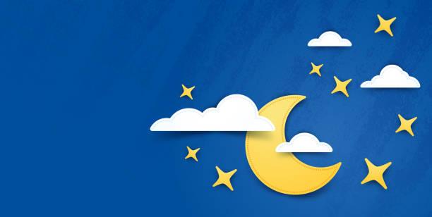 stockillustraties, clipart, cartoons en iconen met maan en sterren nacht achtergrond - etherisch