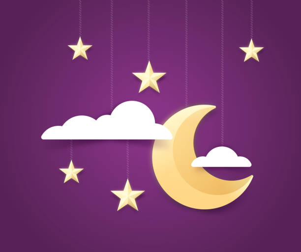 Moon and Stars Night Sky Background Moon and stars night background with copy space. day dreaming stock illustrations
