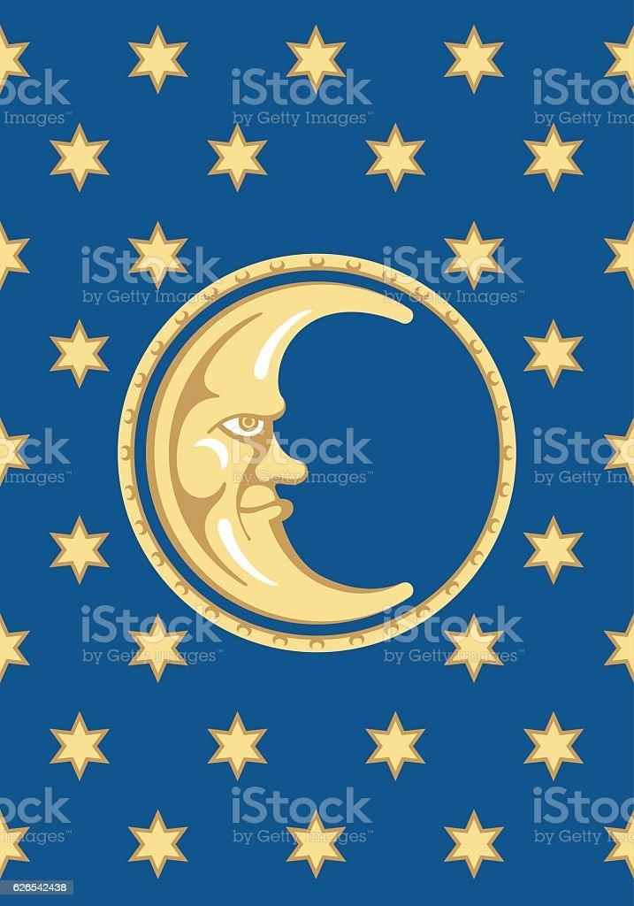 Moon and Stars Vector Design vector art illustration
