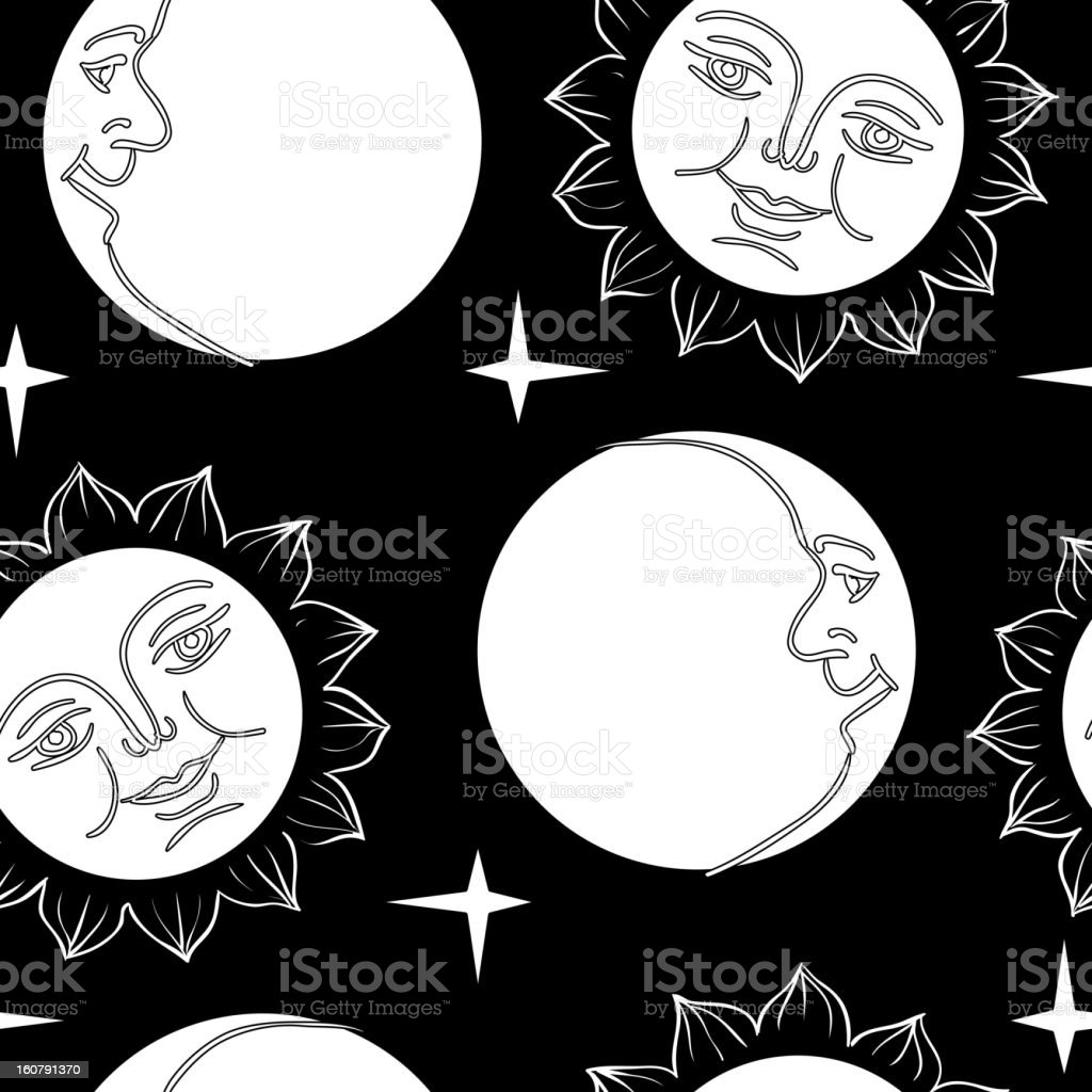 Moon and Sun with faces royalty-free stock vector art
