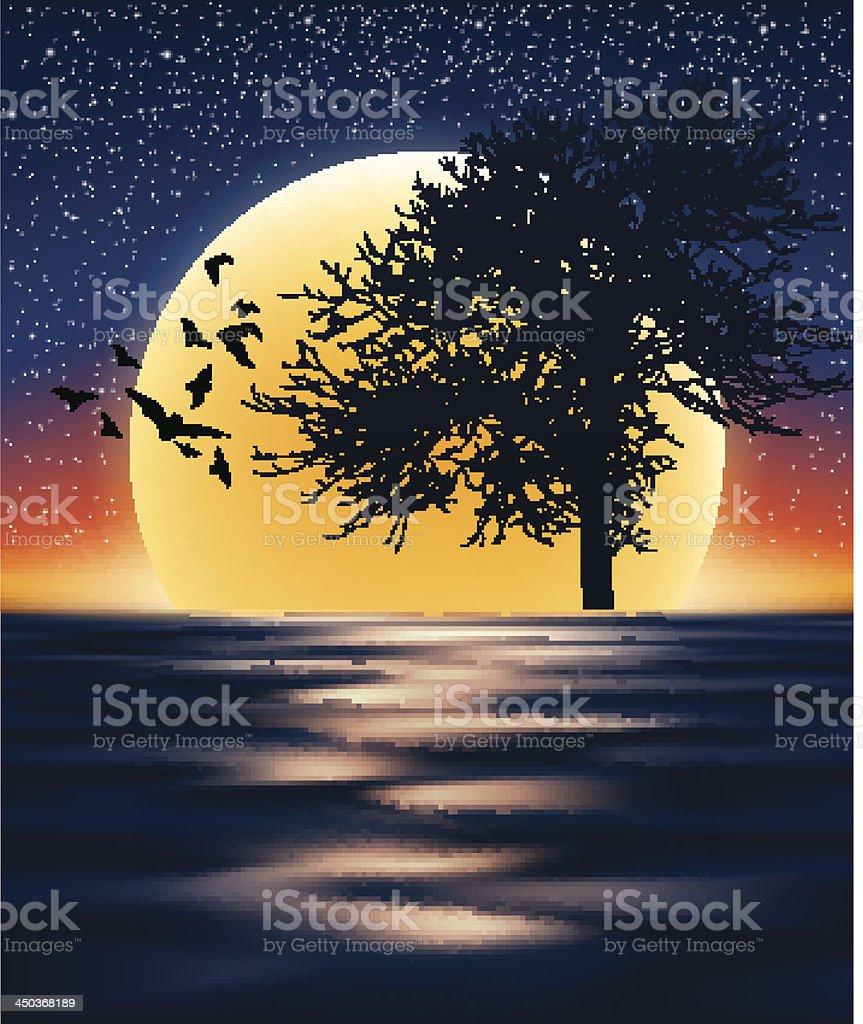 moon and tree vector art illustration