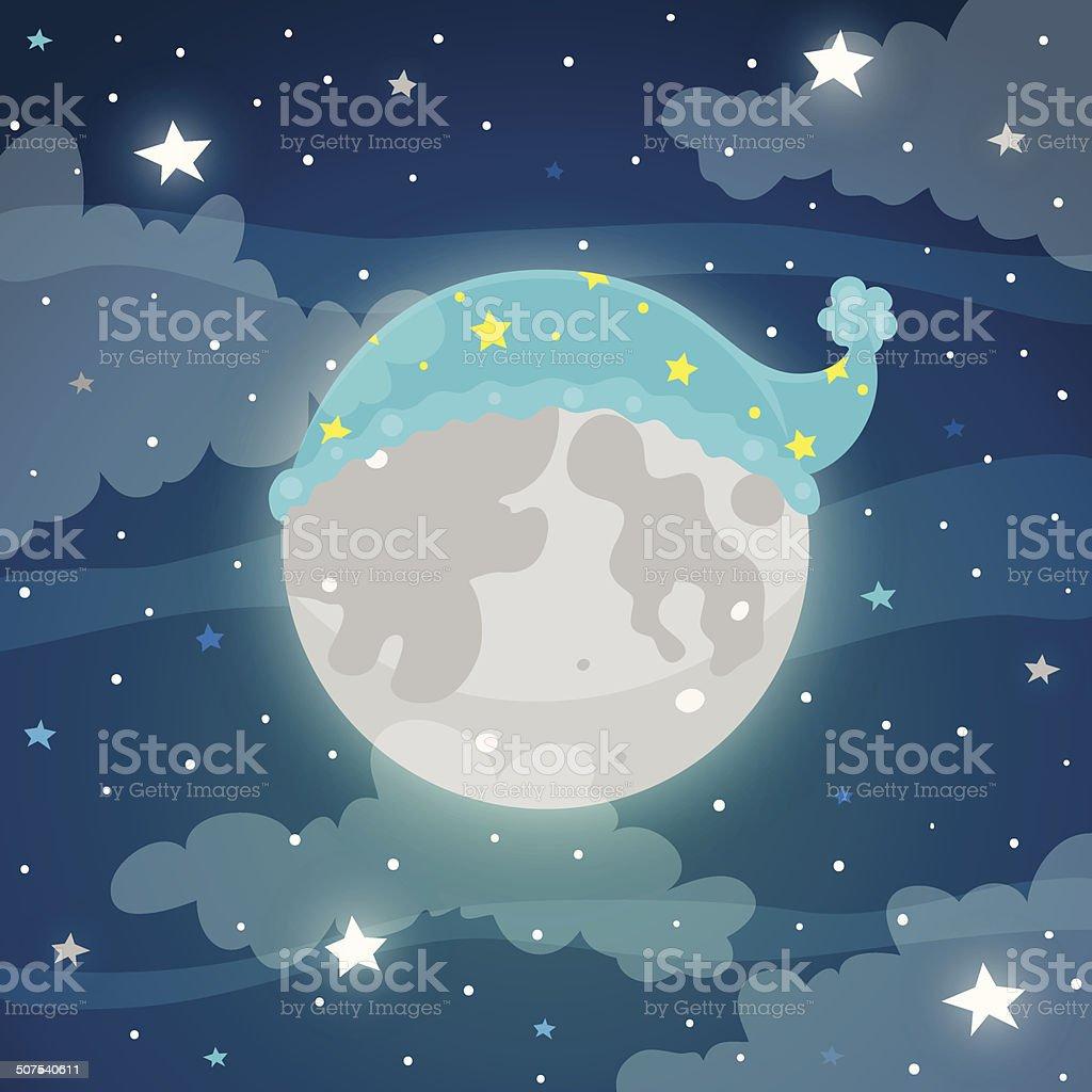 Lune dans la nuit avec une casquette - Illustration vectorielle