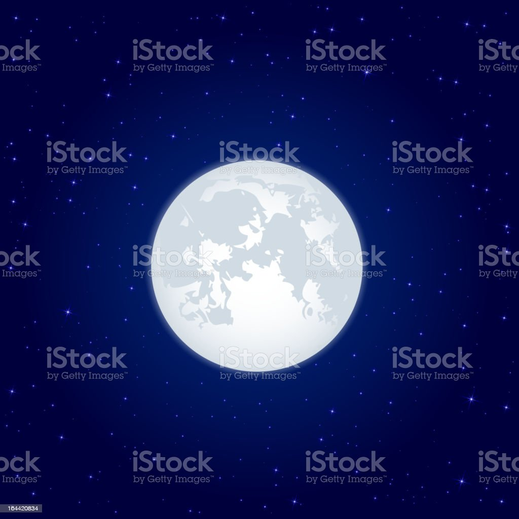 Moon beaming against a starry sky vector art illustration