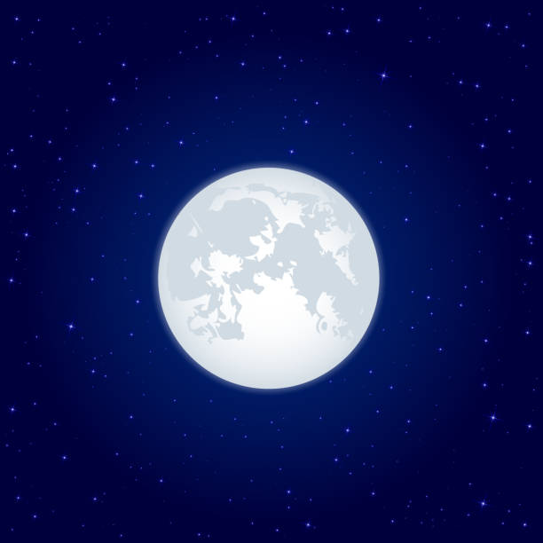 Moon beaming against a starry sky Night background, Moon and shining Stars on dark blue sky, illustration color intensity stock illustrations