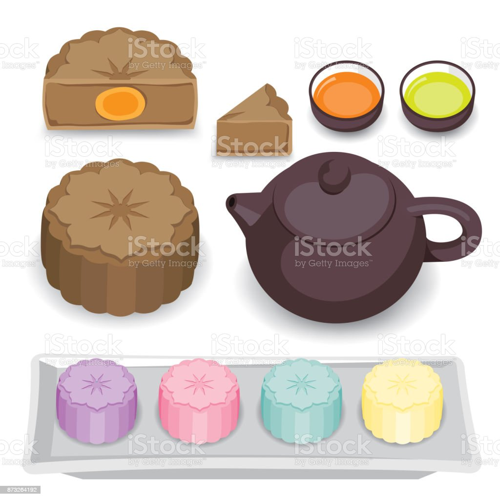 Moon cake and Chinese tea vector art illustration