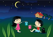 children are playing lantern during moon cake festival