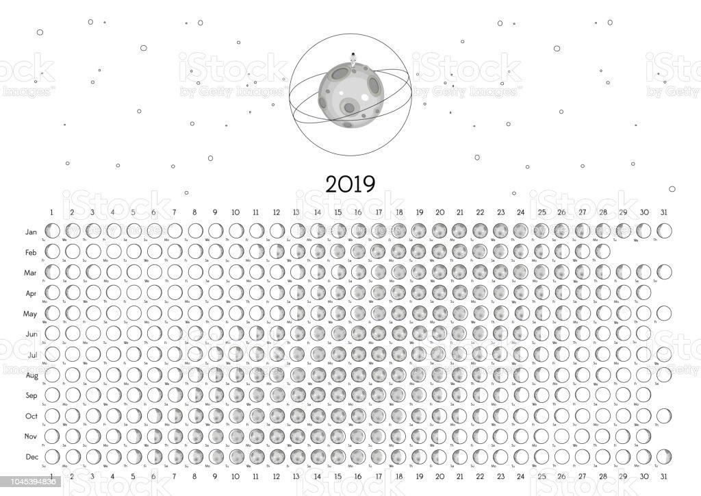 Moon Calendar 2019 Northern Hemisphere Stock Vector Art More