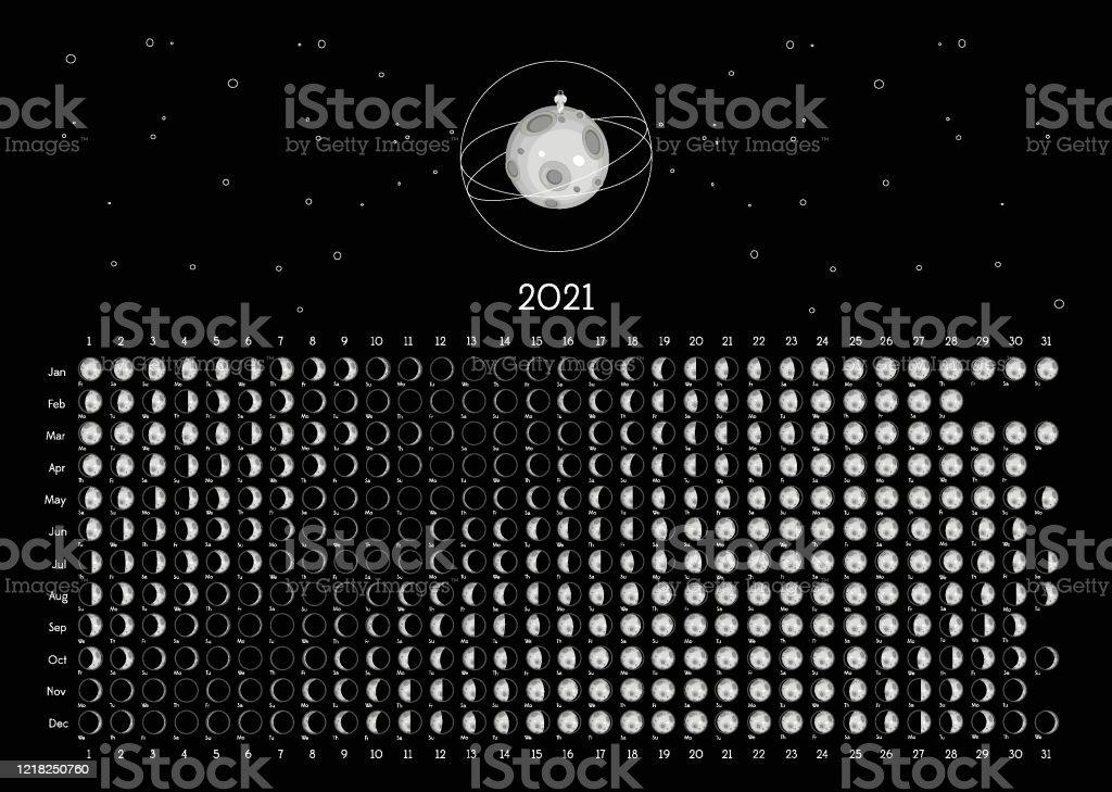 Calendrier Lunaire 2021 Hémisphère Sud Noir Vecteurs libres de